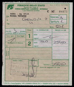 Fr. Khoat's 1988 Trip Genoa-Rome Receipts Dated Receipts